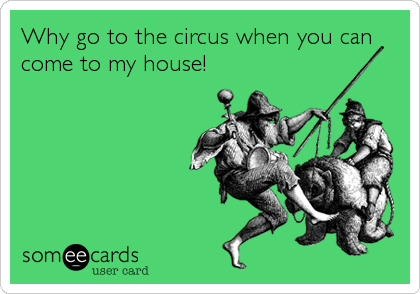 Why go to the circus when you can come to my house!