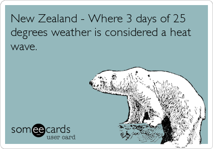 New Zealand - Where 3 days of 25  degrees weather is considered a heat wave.