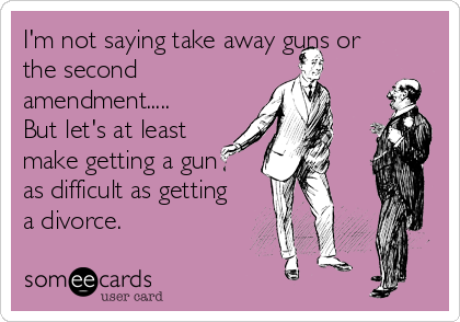 I'm not saying take away guns or the second amendment..... But let's at least make getting a gun  as difficult as getting a divorce.