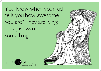 You know when your kid tells you how awesome you are? They are lying; they just want something.