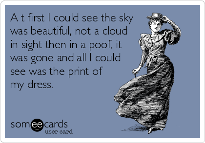 A t first I could see the sky was beautiful, not a cloud in sight then in a poof, it was gone and all I could see was the print of my dress.