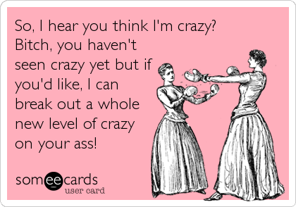 So, I hear you think I'm crazy? Bitch, you haven't seen crazy yet but if you'd like, I can break out a whole new level of crazy<br /%3