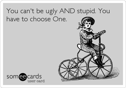 You can't be ugly AND stupid. You have to choose One.