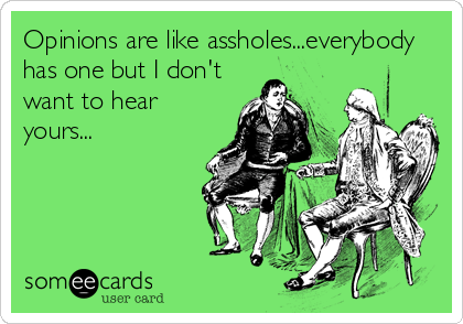 Opinions are like assholes...everybody has one but I don't want to hear yours...