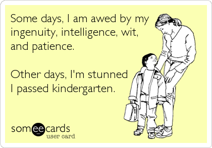 Some days, I am awed by my  ingenuity, intelligence, wit,  and patience.  Other days, I'm stunned I passed kindergarten.