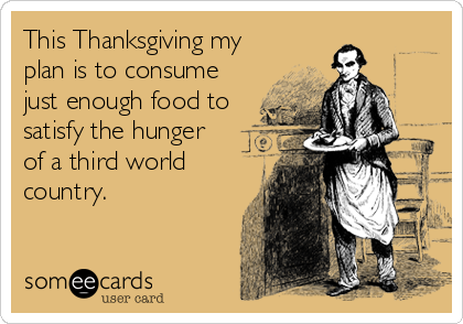 This Thanksgiving my plan is to consume just enough food to satisfy the hunger  of a third world country.