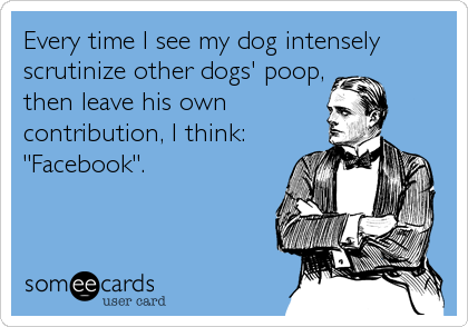 "Every time I see my dog intensely scrutinize other dogs' poop, then leave his own contribution, I think: ""Facebook""."