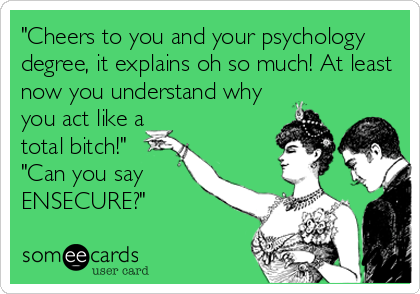 """Cheers to you and your psychology degree, it explains oh so much! At least now you understand why you act like a total bitch!"" ""Can you say ENSECURE?"""