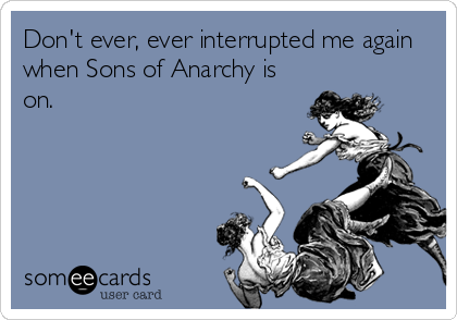 Don't ever, ever interrupted me again when Sons of Anarchy is on.