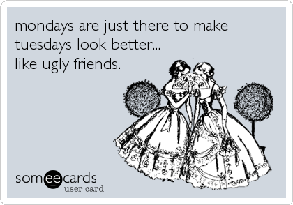 mondays are just there to make tuesdays look better... like ugly friends.
