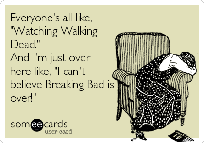 "Everyone's all like, ""Watching Walking Dead.""  And I'm just over here like, ""I can't believe Breaking Bad is over!"""