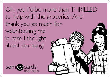 Oh, yes, I'd be more than THRILLED to help with the groceries! And thank you so much for volunteering me in case I thought about declining!