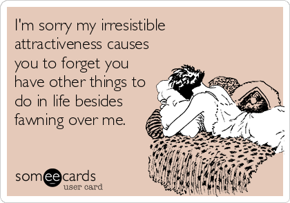 I'm sorry my irresistible  attractiveness causes you to forget you have other things to do in life besides fawning over me.