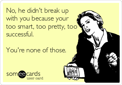 No, he didn't break up with you because your too smart, too pretty, too successful.  You're none of those.