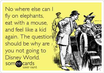 No where else can I fly on elephants, eat with a mouse, and feel like a kid again. The question should be why are you not going to Disney World.
