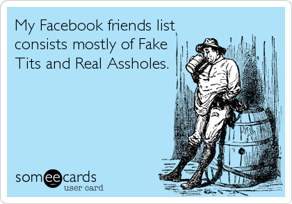 My Facebook friends list consists mostly of Fake Tits and Real Assholes.