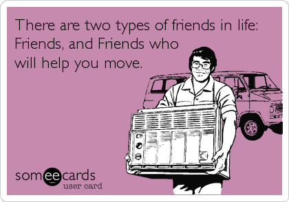 There are two types of friends in life: Friends, and Friends who will help you move.