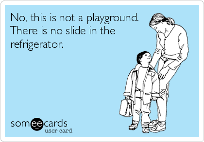 No, this is not a playground. There is no slide in the refrigerator.