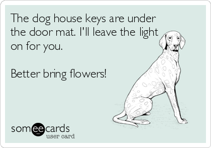 The dog house keys are under the door mat. I'll leave the light on for you.   Better bring flowers!