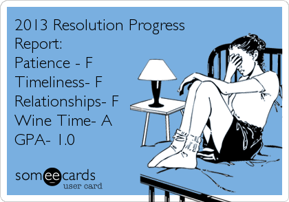 2013 Resolution Progress Report: Patience - F Timeliness- F Relationships- F Wine Time- A GPA- 1.0