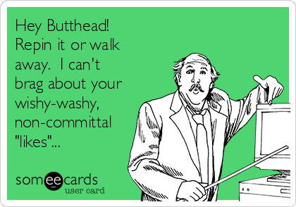 "Hey Butthead!  Repin it or walk away.  I can't brag about your wishy-washy,  non-committal ""likes""..."