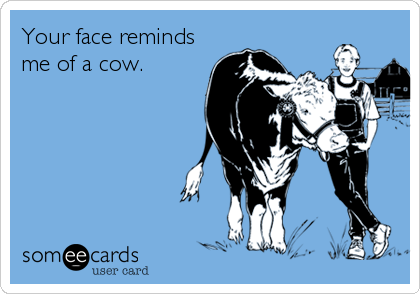 Your face reminds me of a cow.