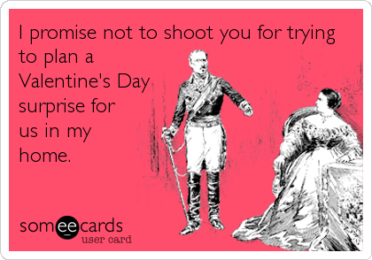 I promise not to shoot you for trying to plan a Valentine's Day surprise for us in my home.