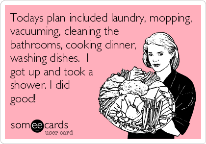 Todays plan included laundry, mopping, vacuuming, cleaning the bathrooms, cooking dinner, washing dishes.  I got up and took a shower. I did<br%
