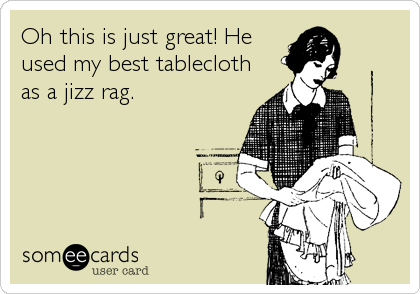 Oh this is just great! He used my best tablecloth as a jizz rag.