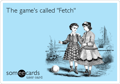 "The game's called ""Fetch"""