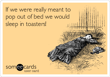 If we were really meant to pop out of bed we would sleep in toasters!