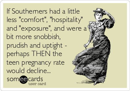 "If Southerners had a little less ""comfort"", ""hospitality"" and ""exposure"", and were a bit more snobbish, prudish and uptight - perhaps THEN the teen pregnancy rate would decline..."