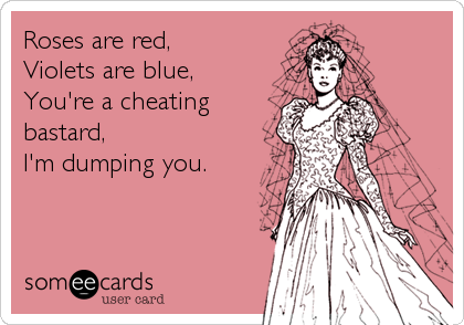 Roses are red, Violets are blue, You're a cheating bastard, I'm dumping you.