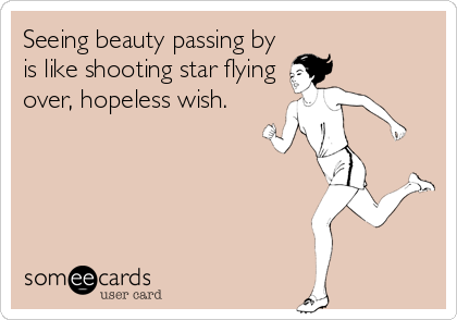 Seeing beauty passing by is like shooting star flying over, hopeless wish.