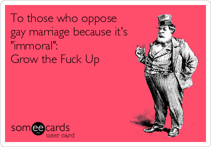 "To those who oppose  gay marriage because it's ""immoral"": Grow the Fuck Up"