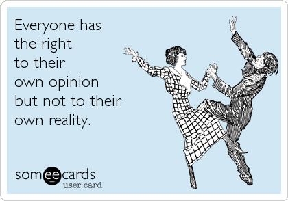Everyone has the right to their own opinion but not to their own reality.