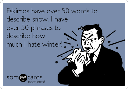 Eskimos Have Over 50 Words To Describe Snow. I Have Over 50 Phrases To  Describe