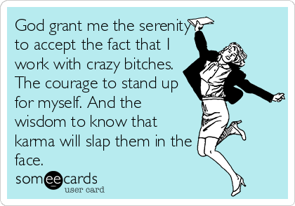 God grant me the serenity to accept the fact that I work with crazy bitches. The courage to stand up for myself. And the wisdom to know that karma will slap them in the face.