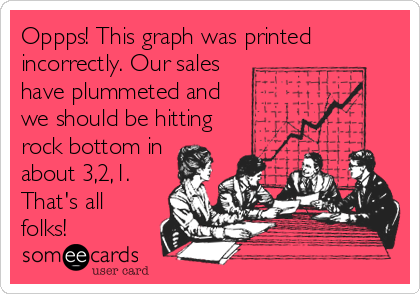 Oppps! This graph was printed incorrectly. Our sales have plummeted and  we should be hitting rock bottom in about 3,2,1. That's all folks!