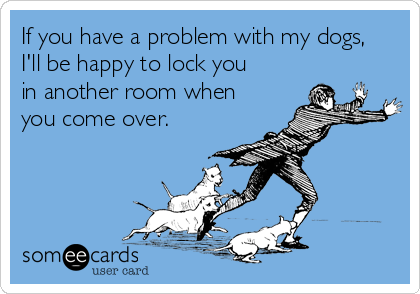 If you have a problem with my dogs, I'll be happy to lock you in another room when you come over.