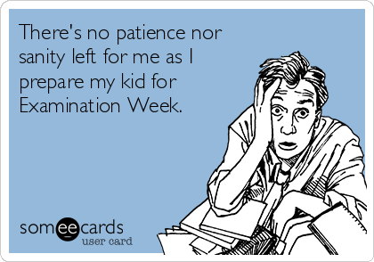 There's no patience nor sanity left for me as I prepare my kid for Examination Week.