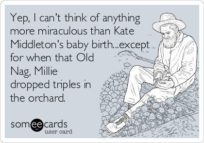 Yep, I can't think of anything more miraculous than Kate Middleton's baby birth...except for when that Old Nag, Millie dropped triples in the orchard.