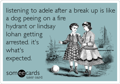 listening to adele after a break up is like a dog peeing on a fire hydrant or lindsay lohan getting arrested. it's  what's expected.