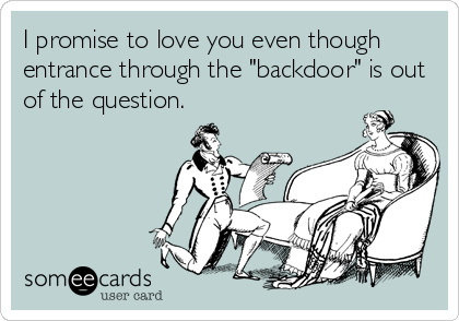 "I promise to love you even though entrance through the ""backdoor"" is out of the question."