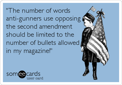 """""""The number of words anti-gunners use opposing the second amendment should be limited to the number of bullets allowed in my magazine!"""""""