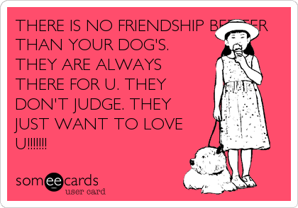 THERE IS NO FRIENDSHIP BETTER THAN YOUR DOG'S.  THEY ARE ALWAYS THERE FOR U. THEY DON'T JUDGE. THEY JUST WANT TO LOVE U!!!!!!!