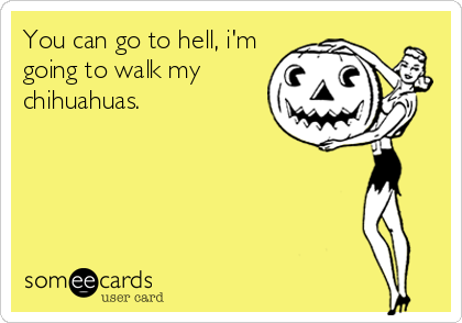 You can go to hell, i'm going to walk my chihuahuas.
