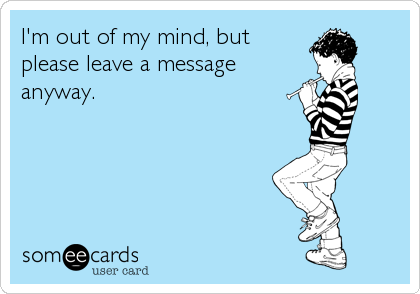 I'm out of my mind, but please leave a message anyway.