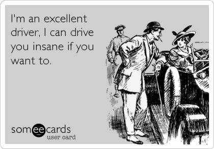 I'm an excellent driver, I can drive you insane if you want to.