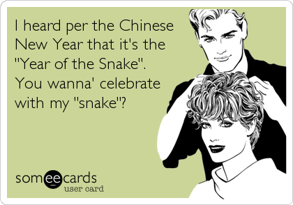 """I heard per the Chinese New Year that it's the """"Year of the Snake"""".  You wanna' celebrate with my """"snake""""?"""